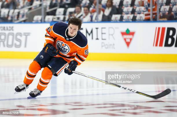 Kailer Yamamoto of the Edmonton Oilers playing in his first NHL game warms up against the Calgary Flames at Rogers Place on October 4 2017 in...