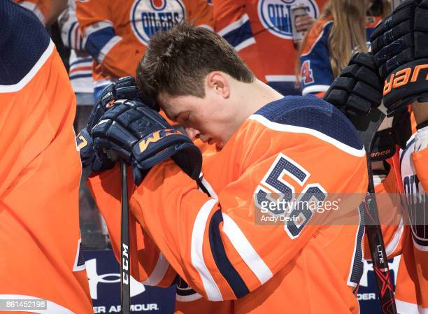 Kailer Yamamoto of the Edmonton Oilers prepares for the game against the Ottawa Senators on October 14 2017 at Rogers Place in Edmonton Alberta Canada
