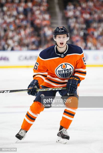 Kailer Yamamoto of the Edmonton Oilers skates against the Calgary Flames at Rogers Place on October 4 2017 in Edmonton Canada