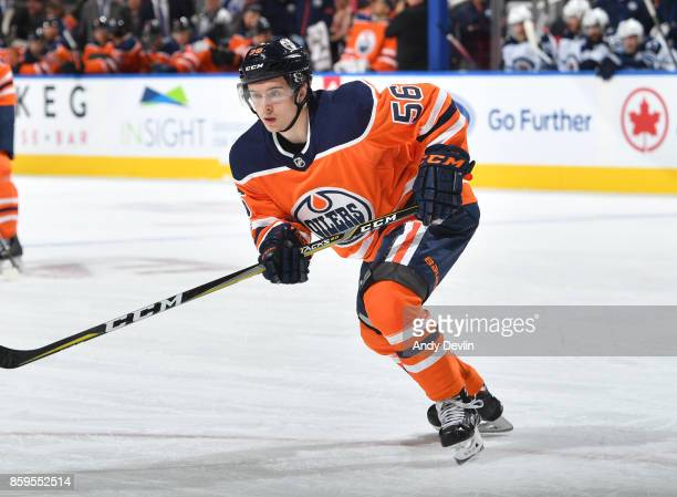 Kailer Yamamoto of the Edmonton Oilers skates during the game against the Winnipeg Jets on October 9 2017 at Rogers Place in Edmonton Alberta Canada