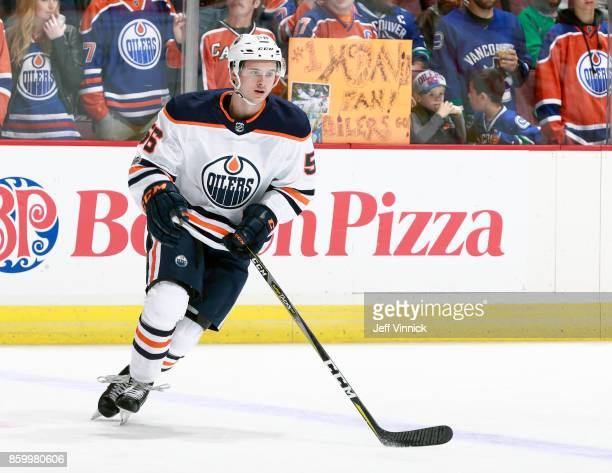 Kailer Yamamoto of the Edmonton Oilers skates up ice during their NHL game against the Vancouver Canucks at Rogers Arena October 7 2017 in Vancouver...