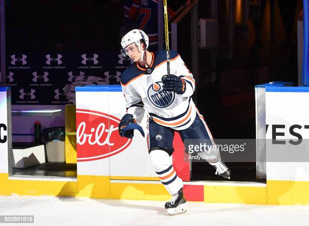 Kailer Yamamoto of the Edmonton Oilers steps onto the ice after being selected as the third star of the game against the Carolina Hurricanes on...