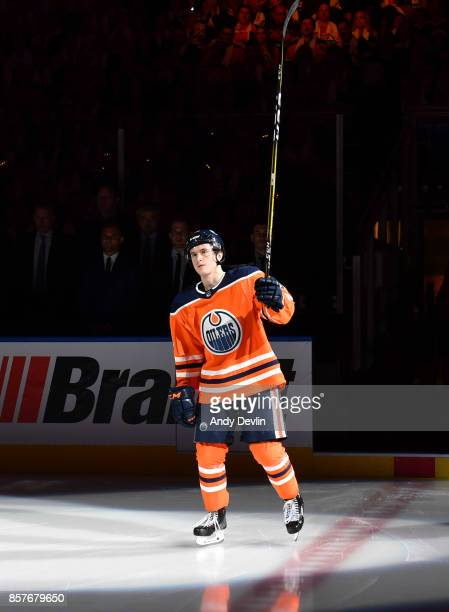 Kailer Yamamoto of the Edmonton Oilers steps onto the ice prior to the season opener against the Calgary Flames on October 4 2017 at Rogers Place in...