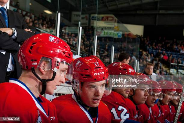 Kailer Yamamoto of the Spokane Chiefs sits on the bench against the Kelowna Rockets on February 17 2017 at Prospera Place in Kelowna British Columbia...