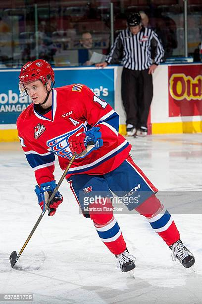 Kailer Yamamoto of the Spokane Chiefs warms up on the ice against the Kelowna Rockets on January 4 2017 at Prospera Place in Kelowna British Columbia...