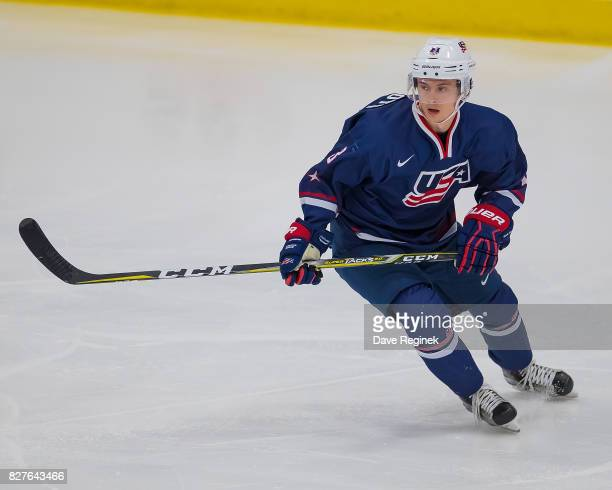 Kailer Yamamoto of the USA turns up ice against Sweden during a World Jr Summer Showcase game at USA Hockey Arena on August 2 2017 in Plymouth...