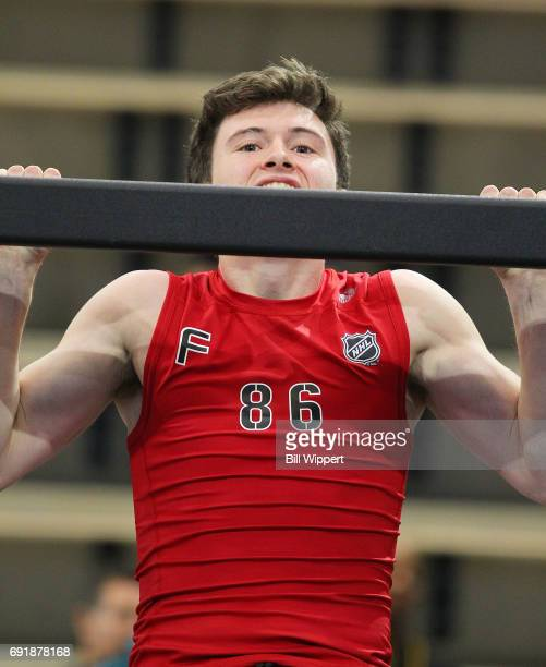 Kailer Yamamoto perfroms PullUps during the NHL Combine at HarborCenter on June 3 2017 in Buffalo New York