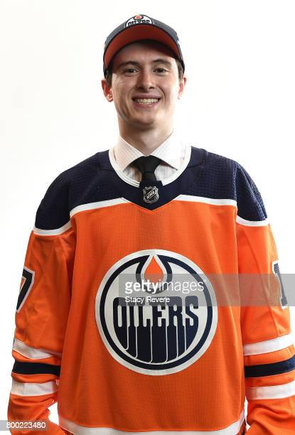 Kailer Yamamoto poses for a portrait after being selected 22nd overall by the Edmonton Oilers during the 2017 NHL Draft at the United Center on June...