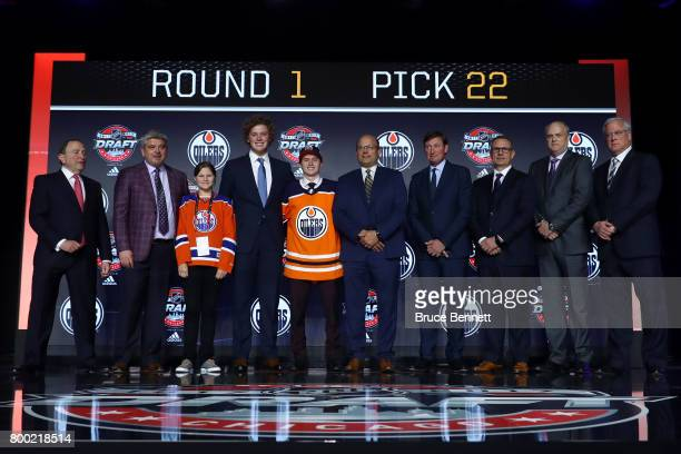 Kailer Yamamoto poses for photos after being selected 22nd overall by the Edmonton Oilers during the 2017 NHL Draft at the United Center on June 23...