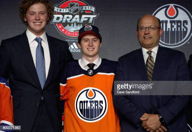Kailer Yamamoto smiles onstage after being selected 22nd overall by the Edmonton Oilers during Round One of the 2017 NHL Draft at United Center on...