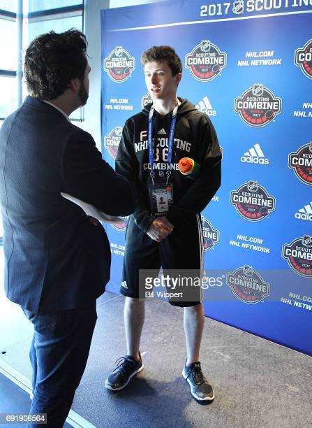 Kailer Yamamoto speaks with the media during the NHL Combine at HarborCenter on June 3 2017 in Buffalo New York