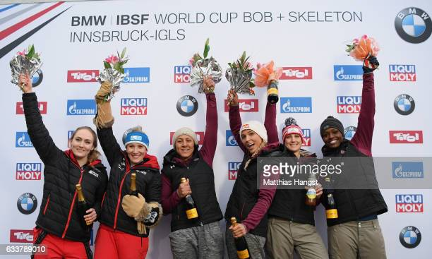 Kaillie Humohries and Melissa Lotholz of Canada Elana Meyers Taylor and Lolo Jones of the United States and Jamie Greubel Poser and Aja Evans of the...