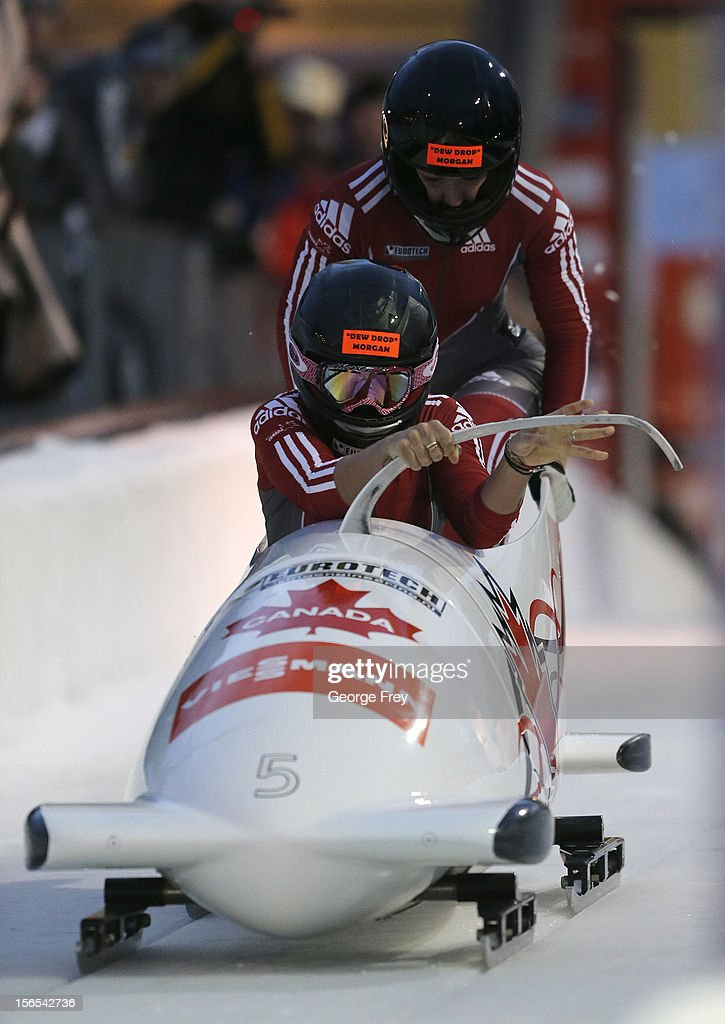Kaillie Humphries (F) and Chelsea Valios of Canada finish first in the FIBT women's bobsled world cup, on November 16, 2012 at Utah Olympic Park in Park City, Utah.