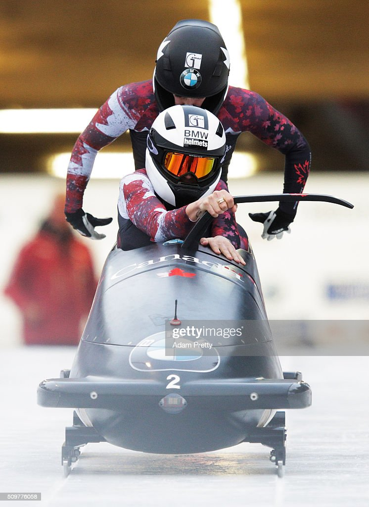 <a gi-track='captionPersonalityLinkClicked' href=/galleries/search?phrase=Kaillie+Humphries&family=editorial&specificpeople=5631265 ng-click='$event.stopPropagation()'>Kaillie Humphries</a> and Melissa Lotholz of Canada pilot their Bob down the track during during Day 1 of the IBSF World Championships for Bob and Skeleton at Olympiabobbahn Igls on February 12, 2016 in Innsbruck, Austria.