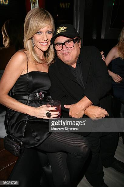 Kailtin Olson and Danny DeVito attend the celebration of the release of 'A Very Sunny Christmas' at Guys and Dolls Lounge on November 12 2009 in Los...