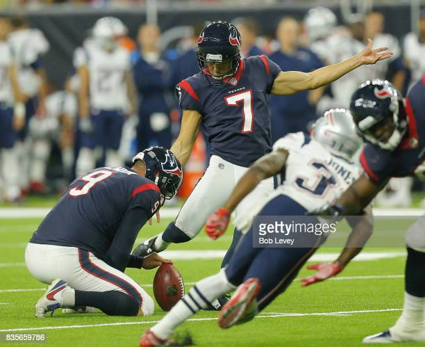 Ka'imi Fairbairn of the Houston Texans connects on a 38 yard field goal against the New England Patriots at NRG Stadium on August 19 2017 in Houston...