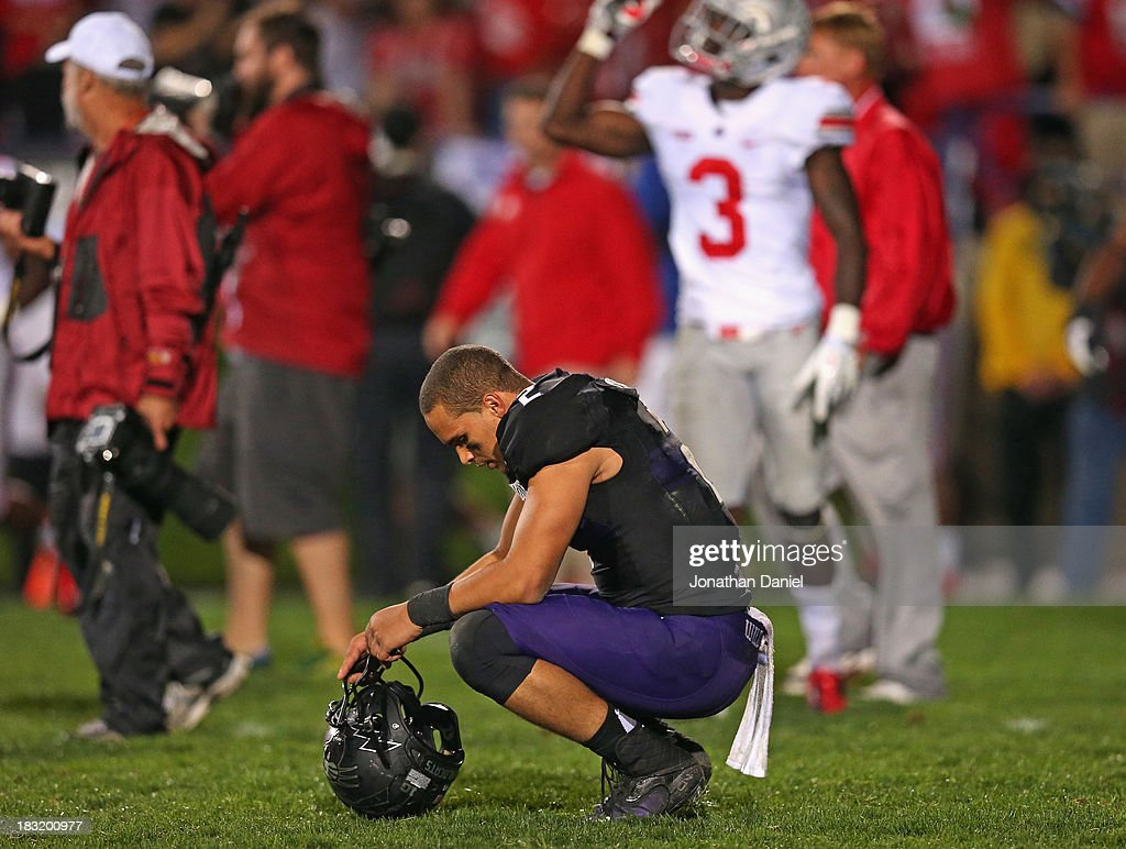 Kain Colter #2 of the Northwestern Wildcats reacts after a loss to the Ohio State Buckeyes at Ryan Field on October 5, 2013 in Evanston, Illinois. Ohio State defeated Northwestern 40-30.