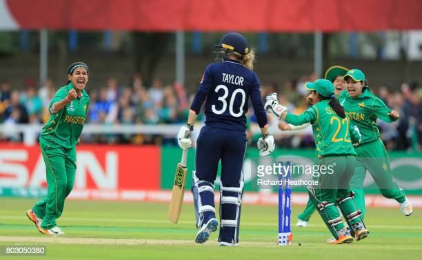 Kainat Imtiaz of Pakistan celebrates taking the wicket of Sarah Taylor of England during the Women's ICC World Cup group match between England and...