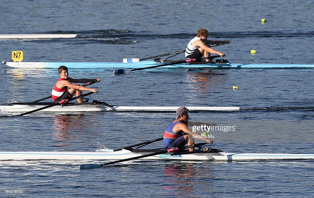 Kaine Marsh of Queen Charlotte College, Connor Broughton of John Paul College and Joshua Fitzsimons of Francis Douglas College race in the boys U16 single sculls first semi final during day four of the Maadi Cup at Lake Karapiro on March 21, 2013 in Cambridge, New Zealand.