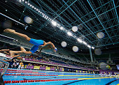 Kaio Almeida of Brazil starts the Mens 200m Butterfly Finals during the Maria Lenk Trophy competition at the Aquece Rio Test Event for the Rio 2016...