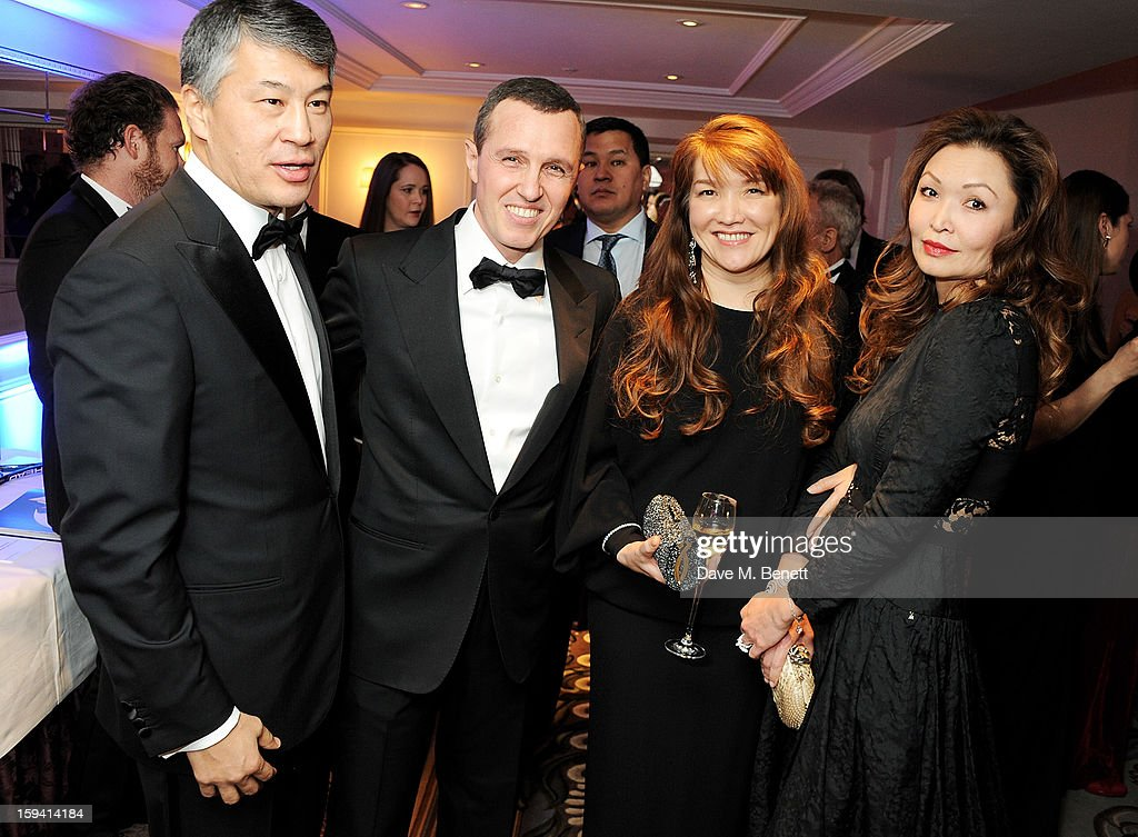 Kairat Boranbayev, Igor Vernik, Sholpan Boranbayeva and Mira Anafina attend a gala evening celebrating Old Russian New Year's Eve in aid of the Gift Of Life Foundation at The Savoy Hotel on January 13, 2013 in London, England.