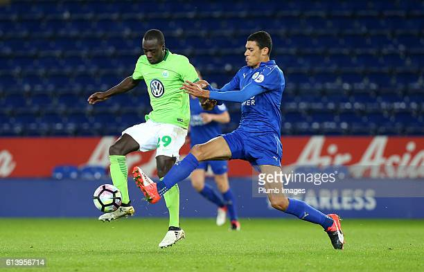 LEICESTER ENGLAND OCTOBER Kairo Mitchell of Leicester City in action with Amara Conde of VFL Wolfsburg during the Premier League International Cup...