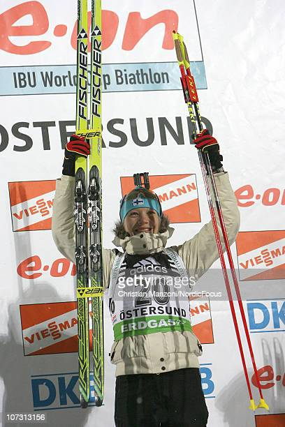 Kaisa Maekaeraeinen of Finland celebrates her victory in the women's sprint during the IBU Biathlon World Cup on December 03 2010 in Ostersund Sweden
