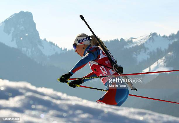 Kaisa Maekaeraeinen of Finland competes in the Women's 15km Individual during the IBU Biathlon World Championships at Chiemgau Arena on March 7 2012...