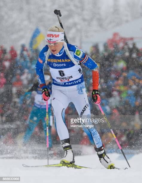 Kaisa Makarainen of Finland competes in the 125 km Men's Pursuit during the BMW IBU World Cup Biathlon on December 9 2017 in Hochfilzen Austria