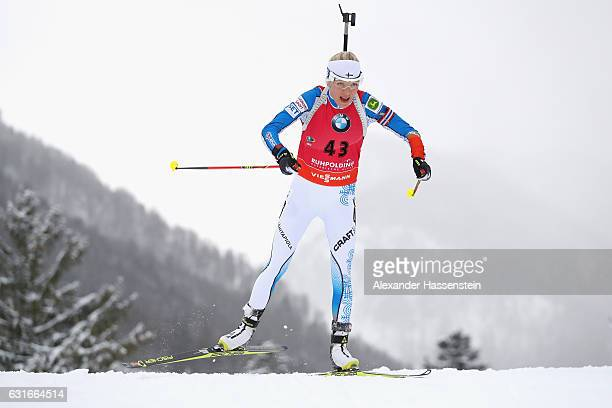 Kaisa Makarainen of Finland competes in the 75 km Women's Sprint during the IBU Biathlon World Cup at Chiemgau Arena on January 14 2017 in Ruhpolding...