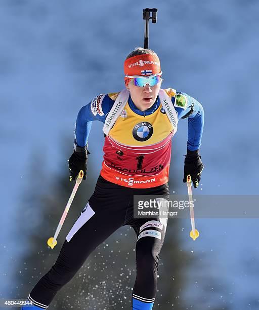 Kaisa Makarainen of Finland competes in the women's 10 km pursuit event during the IBU Biathlon World Cup on December 14 2014 in Hochfilzen Austria
