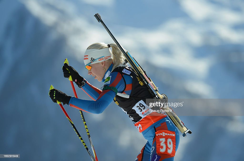 Kaisa Makarainen of Finland competes in the Women's 15km Individual Event during the E. ON IBU Biathlon World Cup at the 'Laura' Biathlon & Ski Complex on March 7, 2013 in Sochi, Russia.