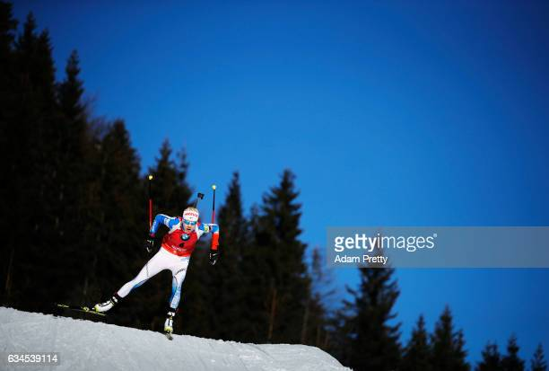 Kaisa Makarainen of Finland competes in the women's 75km sprint competition of the IBU World Championships Biathlon 2017 at the Biathlon Stadium...
