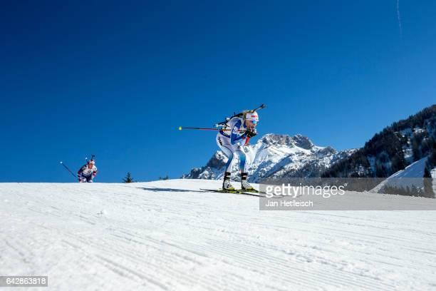 Kaisa Makarainen of Finland in action during the women's 125km mass start competition of the IBU World Championships Biathlon 2017 at the Biathlon...