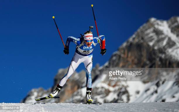 Kaisa Makarainen of Finland in action during the Women's 15km Individual competition of the IBU World Championships Biathlon 2017 at the Biathlon...