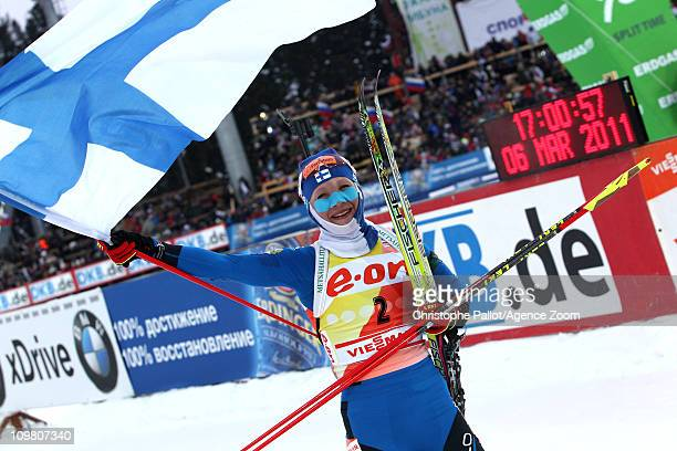 Kaisa Makarainen of Finland takes 1st place during the IBU Biathlon World Championships Women's 10km Pursuit on March 6 2011 in KhantyMansiysk Russia