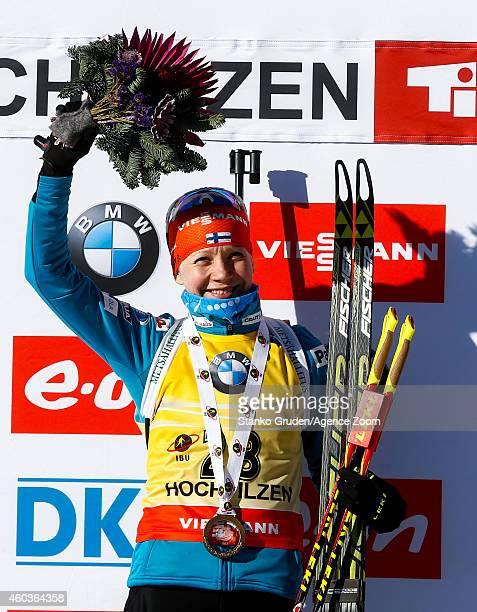 Kaisa Makarainen of Finland takes 1st place during the IBU Biathlon World Cup Men's and Women's Sprint on December 12 2014 in Hochfilzen Austria