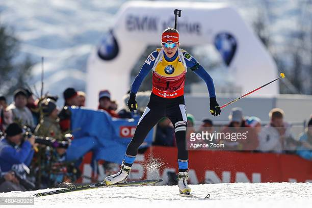 Kaisa Makarainen of Finland takes 1st place during the IBU Biathlon World Cup Men's and Women's Pursuit on December 14 2014 in Hochfilzen Austria