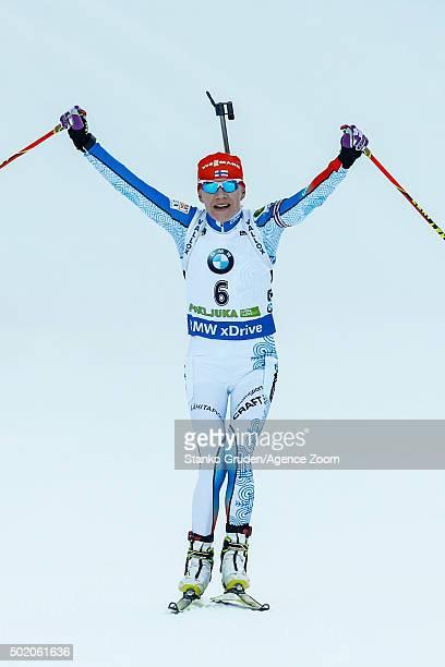 Kaisa Makarainen of Finland takes 1st place during the IBU Biathlon World Cup Men's and Women's Mass Start on December 20 2015 in Pokljuka Slovenia