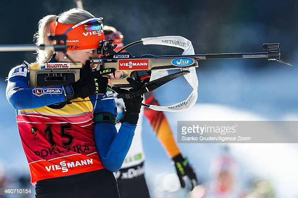 Kaisa Makarainen of Finland takes 2nd place during the IBU Biathlon World Cup Men's and Women's Pursuit on December 20 2014 in Pokljuka Slovenia