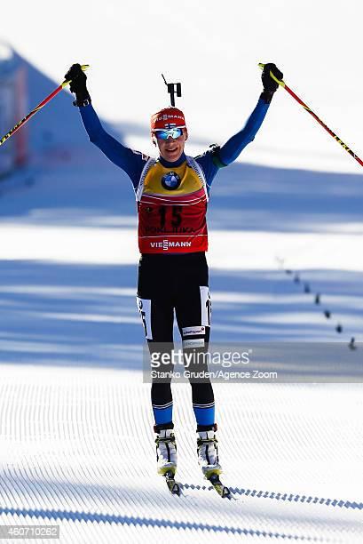 Kaisa Makarainen of Finland takes 2nd place during the IBU Biathlon World Cup Men's and Women's Pursuit on December 20 2014 in Pokljuka Slovenia