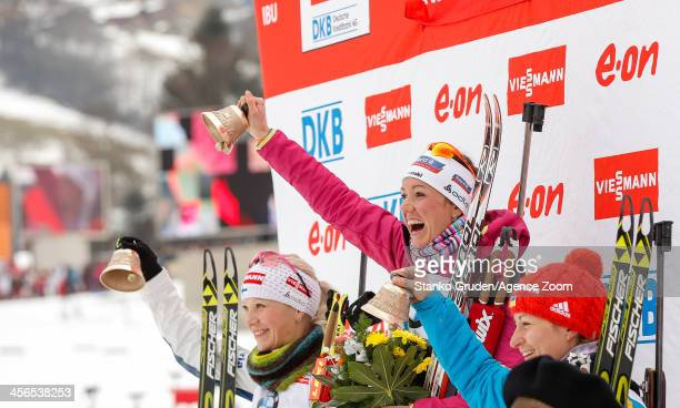 Kaisa Makarainen of Finland takes 2nd place Selina Gasparin of Switzerland takes 1st place Valj Semerenko of Ukraine takes 3rd place during the IBU...