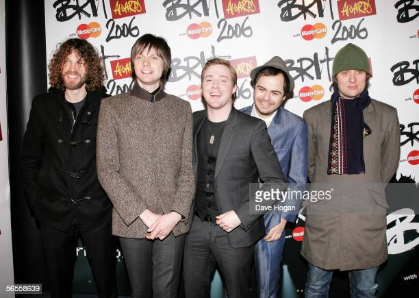 Kaiser Chiefs Simon Rix Nick Hodgson Ricky Wilson Nick Baines and Andrew 'Whitey' White arrive for the shortlist announcement for The Brit Awards...