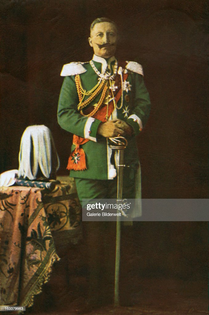 Kaiser Wilhelm II German Emperor and King of Prussia in dress uniform with sword 1915 Berlin Painting or color photograph on a postcard