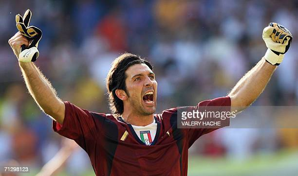 Italian goalkeeper Gianluigi Buffon celebrates following their victory in the round of 16 World Cup football match between Italy and Australia at...