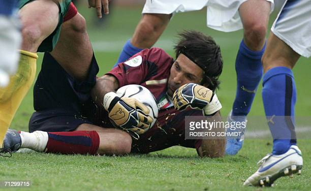 Italian goalkeeper Gianluigi Buffon makes a save during the round of 16 World Cup football match between Italy and Australia at Kaiserslautern's...