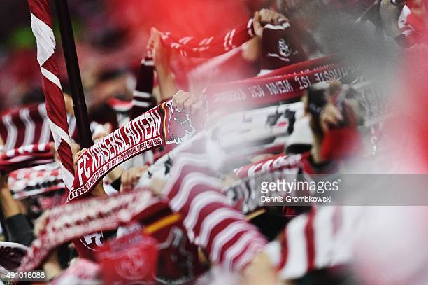 Kaiserslautern supporters are seen during the Second Bundesliga match between 1 FC Kaiserslautern and Fortuna Duesseldorf at FritzWalterStadion on...