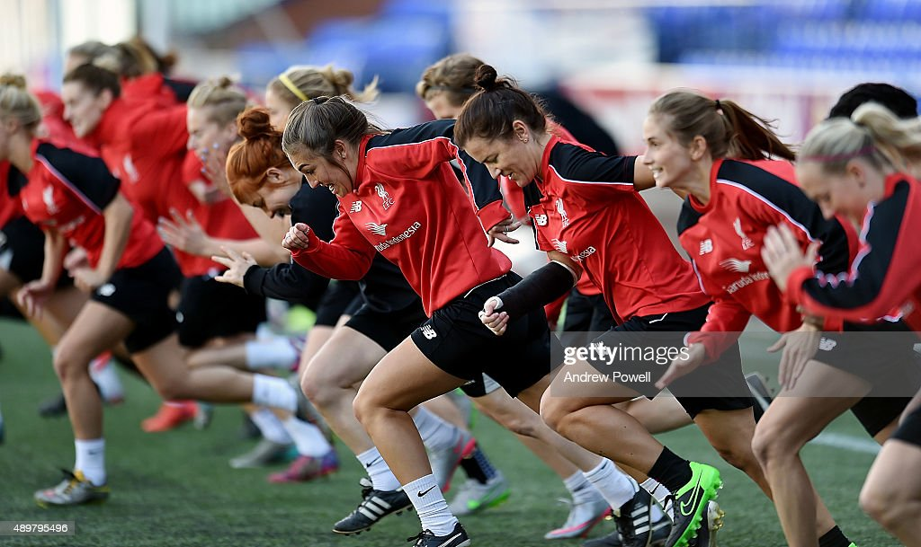 Kaite Zelem and the rest of the Liverpool Ladies in action during a training session at Select Security Stadium on September 24 2015 in Widnes England
