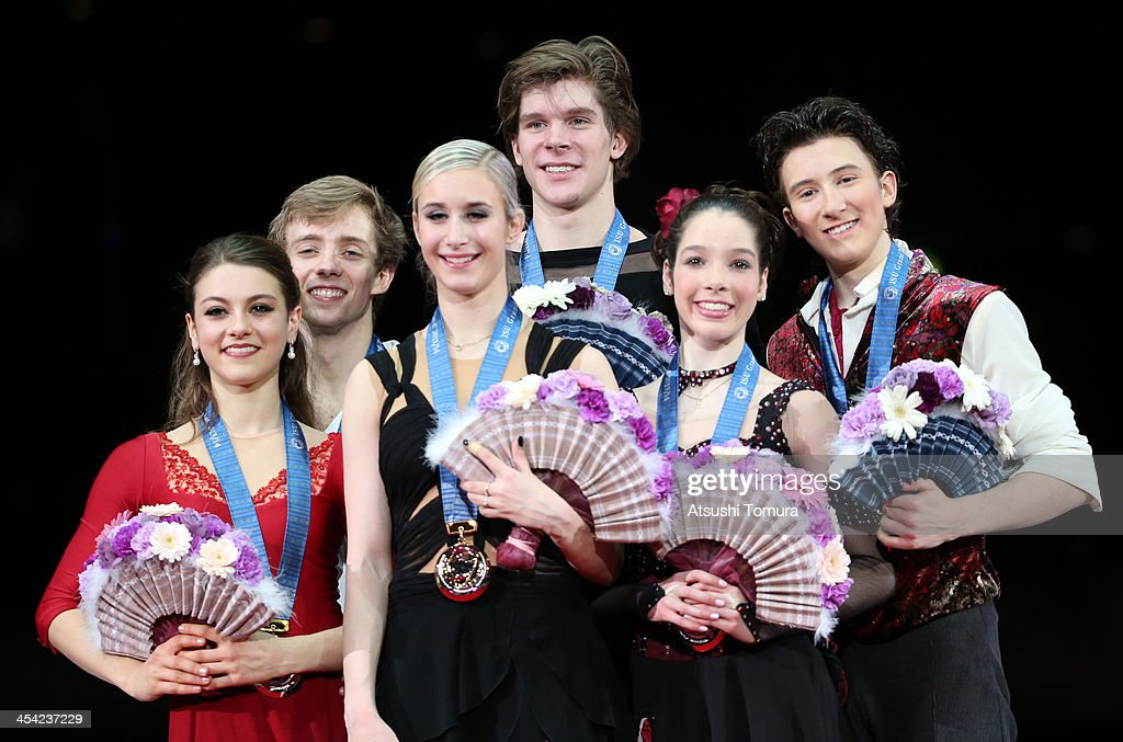 Kaitlin Hawayek and Jean-Luc Baker of USA, Anna Yanovskaya and Sergey Mozgov of Russia and Lorraine Mcnamara and Quinn Carpenter of USA pose with their medals during the victory ceremony for the junior ice dance during day four of the ISU Grand Prix of Figure Skating Final 2013/2014 at Marine Messe Fukuoka on December 8, 2013 in Fukuoka, Japan.