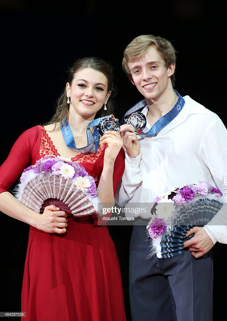 Kaitlin Hawayek and Jean-Luc Baker of USA pose with their medals during the victory ceremony for the junior ice dance during day four of the ISU Grand Prix of Figure Skating Final 2013/2014 at Marine Messe Fukuoka on December 8, 2013 in Fukuoka, Japan.